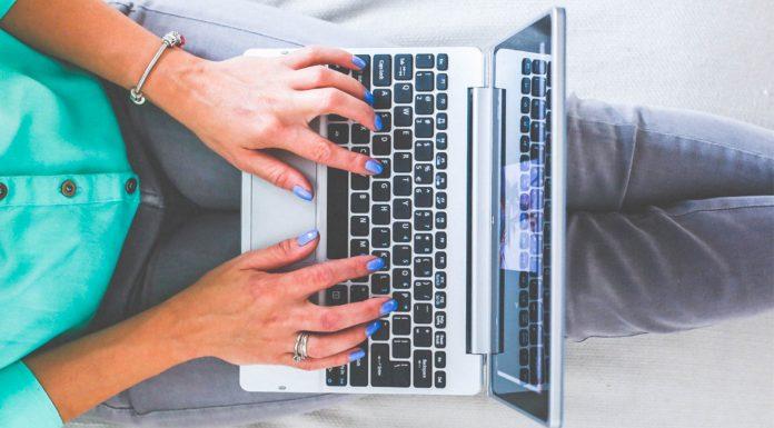 Woman at keyboard